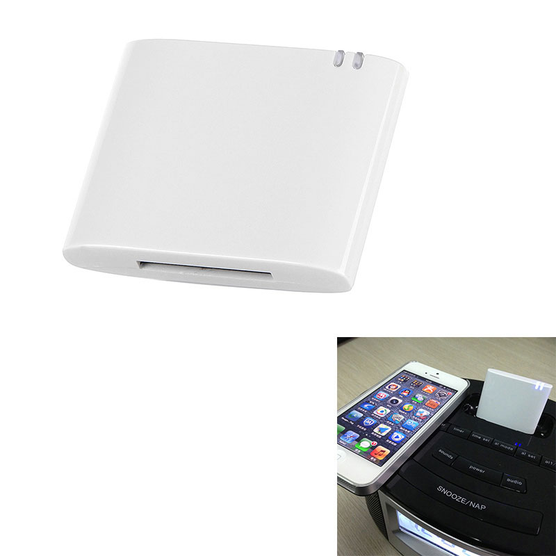 Wireless Stereo Bluetooth Music Receiver/Adapter for iPhone iPad iPod Samsung 30-pin Dock Speaker Boombox White