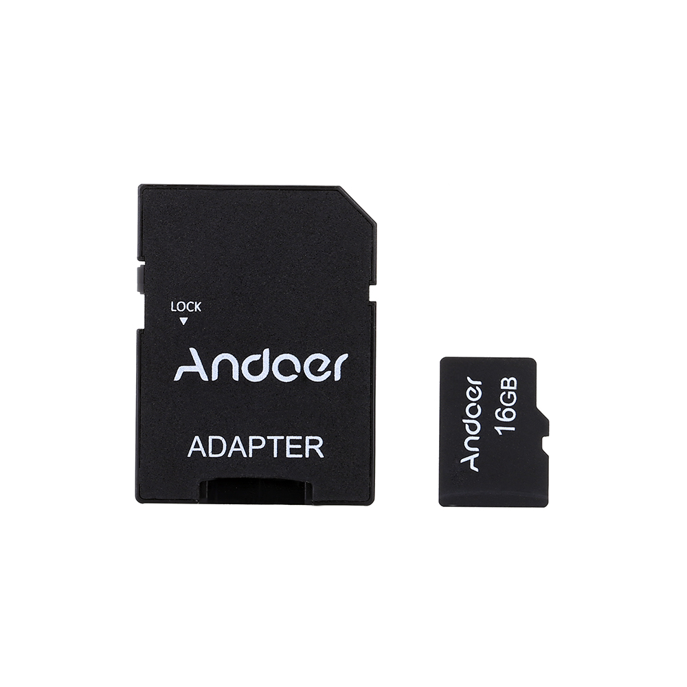 Andoer 16GB Class 10 Memory Card TF Card + Adapter + Card Reader USB Flash Drive for Camera Car Camera Cell Phone Table PC GPS