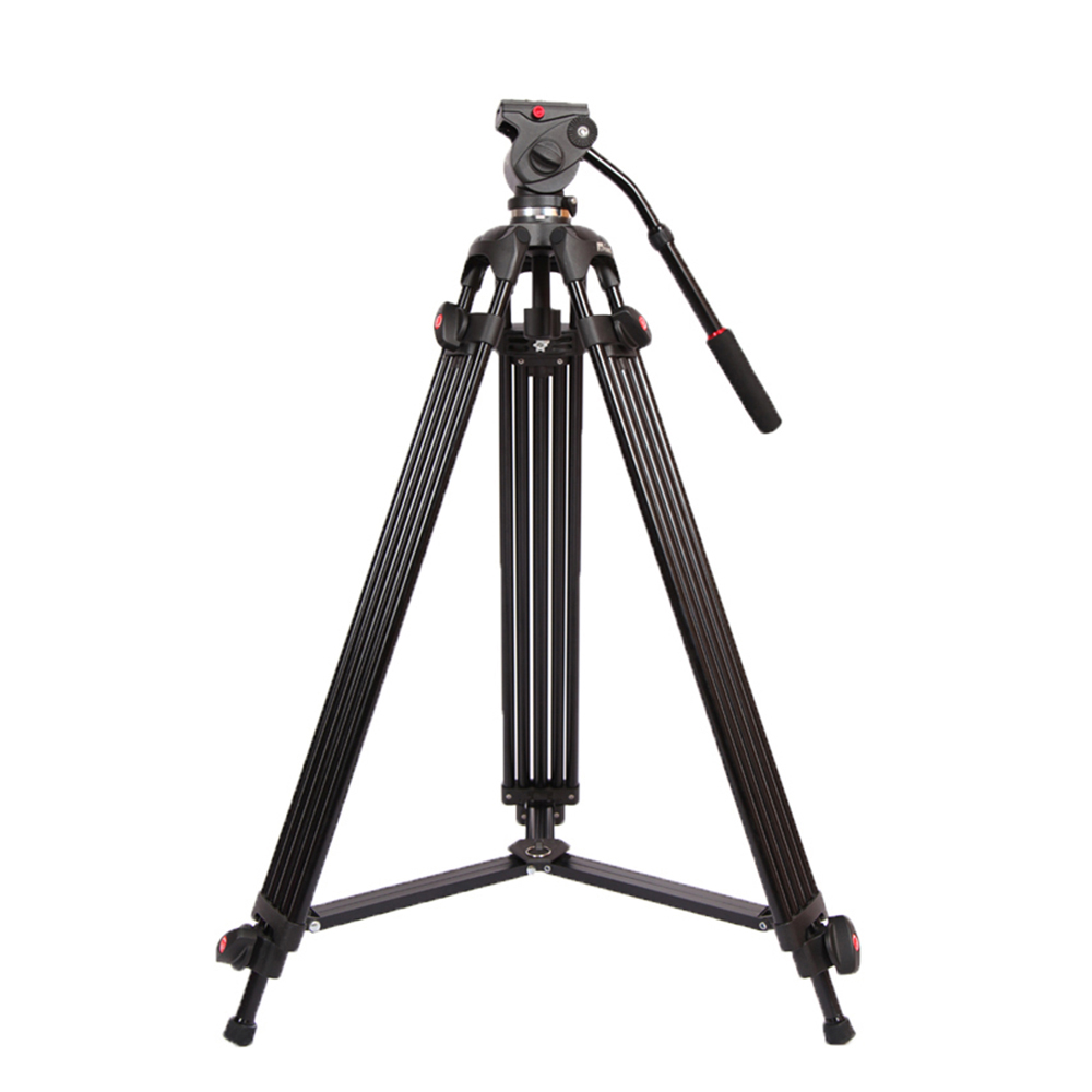 JY0508B 1.8m Foldable Telescoping Aluminum Alloy DSLR Camera Camcorder Video Tripod with Fluid Drag Head Padded Bag