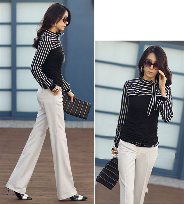 Korean Fashion Women Lady Slim T-Shirt Puff Long Sleeve Polo Neck Stripe Tops Black