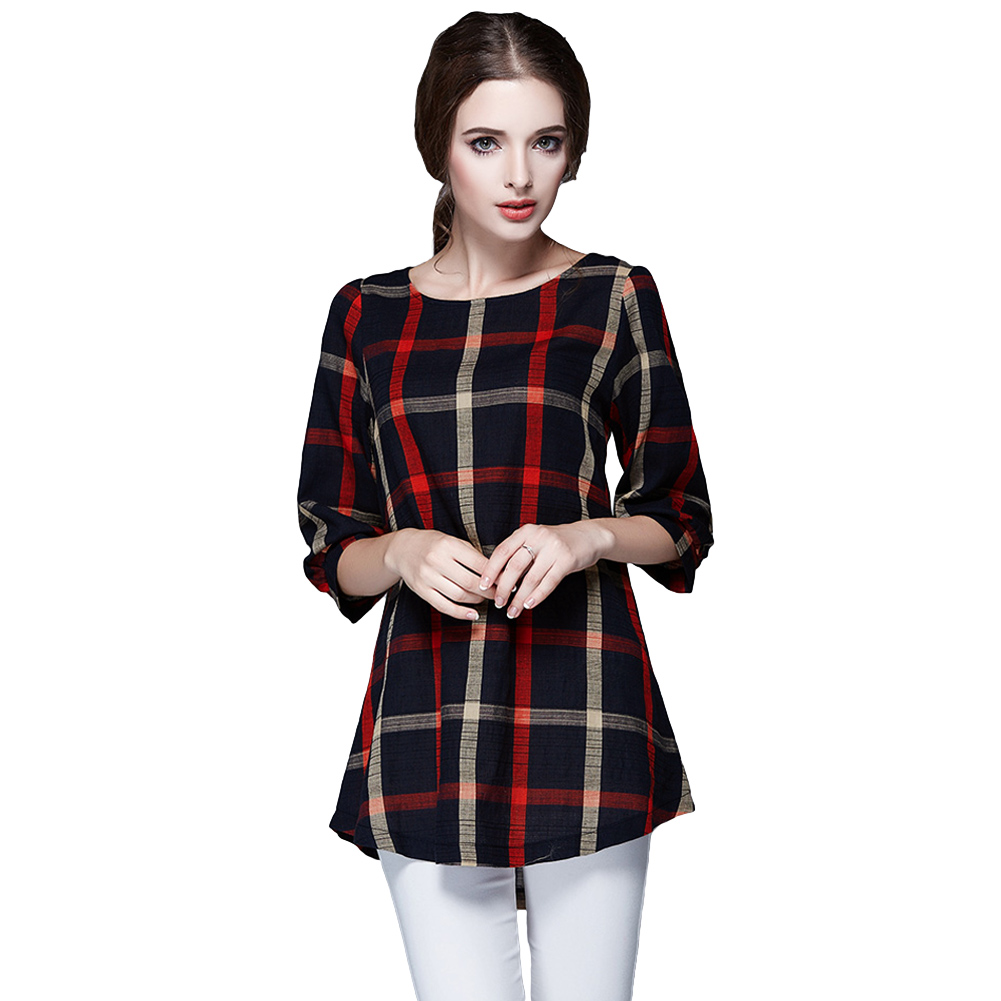 Womens o neck plaid cotton checked girls loose t shirt Womens red plaid shirts blouses