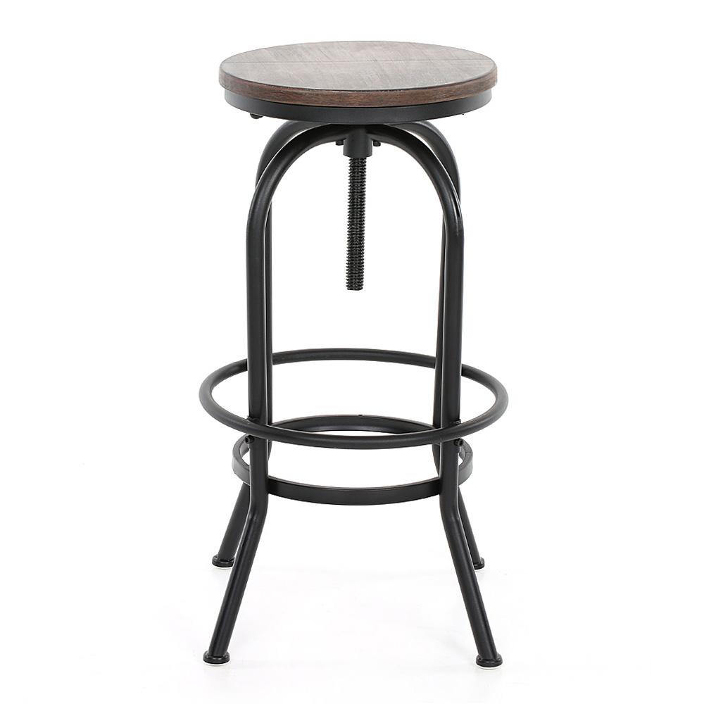 vintage bar stool industrial metal design wood top adjustable height swivel m9i3 ebay. Black Bedroom Furniture Sets. Home Design Ideas