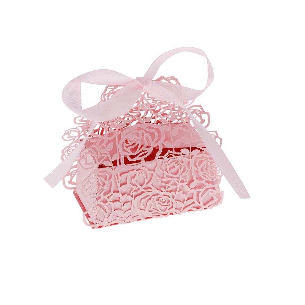 Wedding Favor Boxes For Cookies : ... Rose DIY Wedding Party Candy Cookie Gift Favor Box Purple/Pink eBay