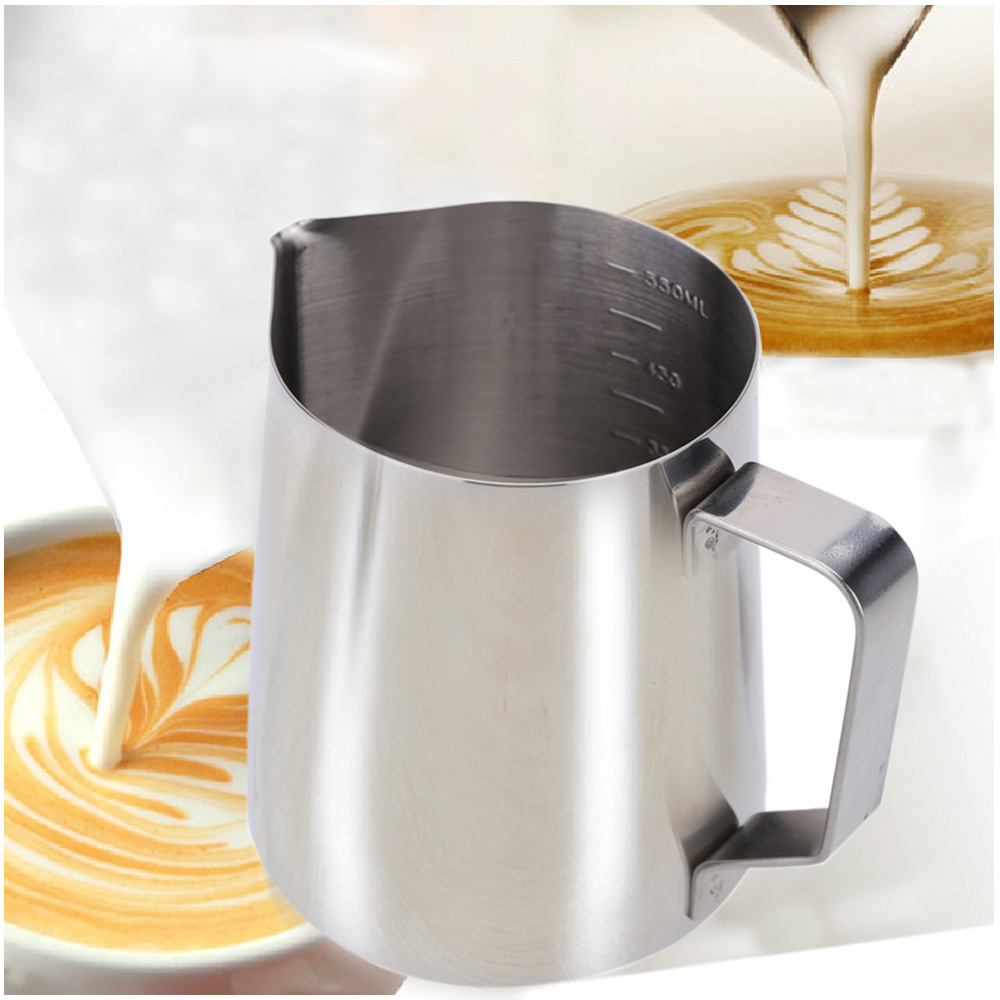 Stainless Steel Milk Frother Pitcher Milk Foam Container Measuring Cups Coffe Appliance H15954L