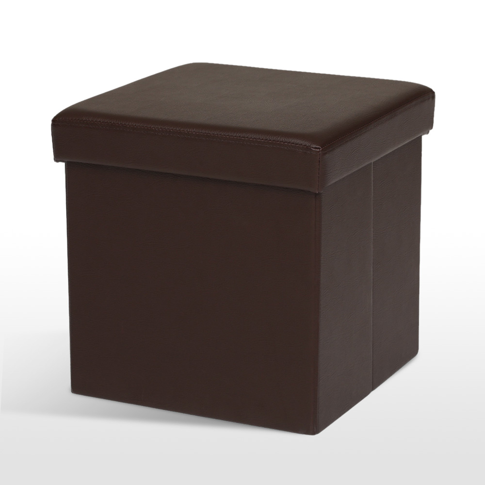 iKayaa Folding Ottoman Storage Box Seat Chest PU Leather Foot Stool Top New - IKayaa Folding Ottoman Storage Box Seat Chest PU Leather Foot