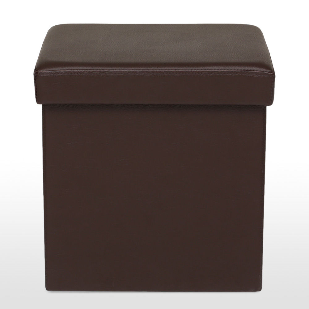This chic ottoman is crafted with faux leather(SGS Approved) & quality  MDF(of E1 Criteria), sturdy & durable to seat after assembled. - IKayaa Folding Ottoman Storage Box Seat Chest PU Leather Foot