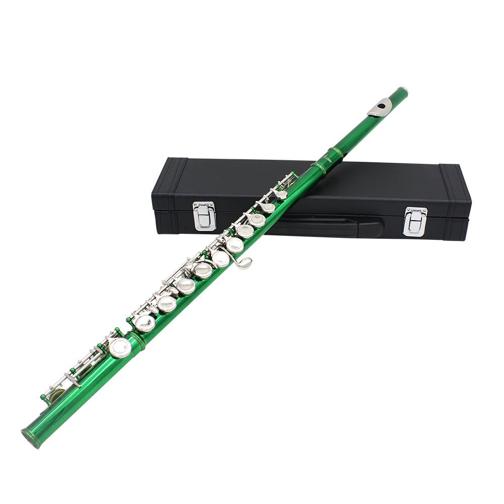estern Concert Flute Cupronickel Plated Silver 16 Holes C Key Woodwind Instrument with Cork Grease Cleaning Cloth Stick Gloves Mini Screwdriver Padded