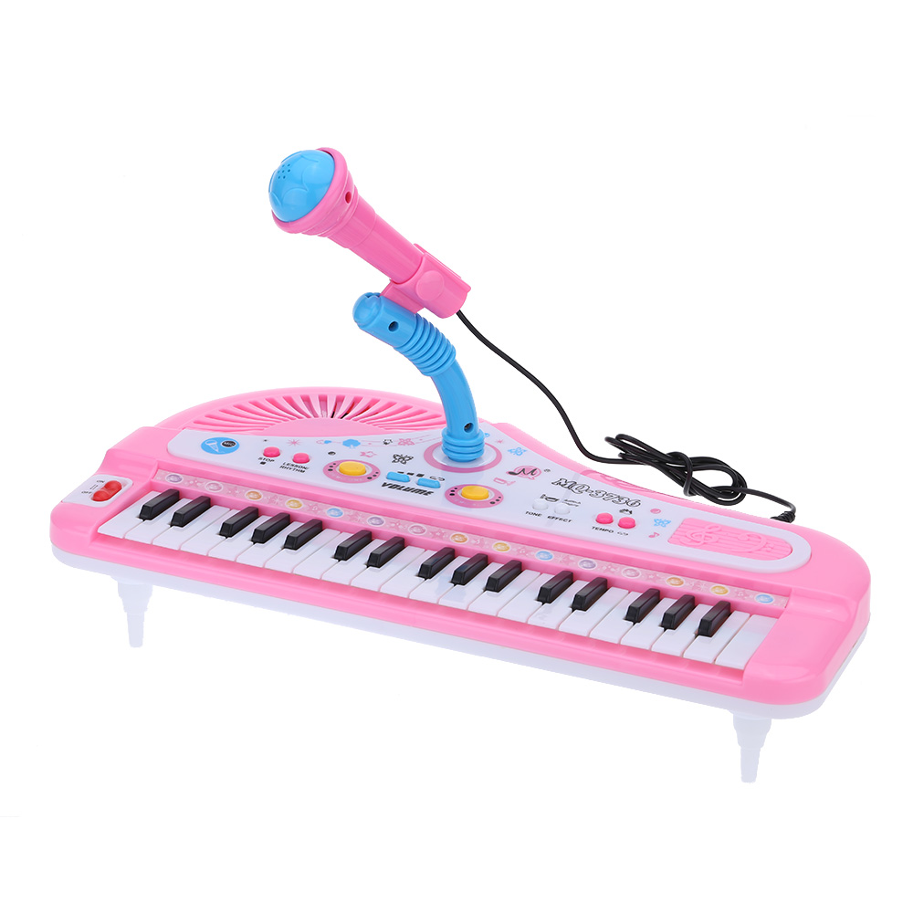 37 Keys Cartoon Mini Electronic Keyboard Music Toy with Microphone Educational Electone Gift for Children Kids Babies Beginners I1355