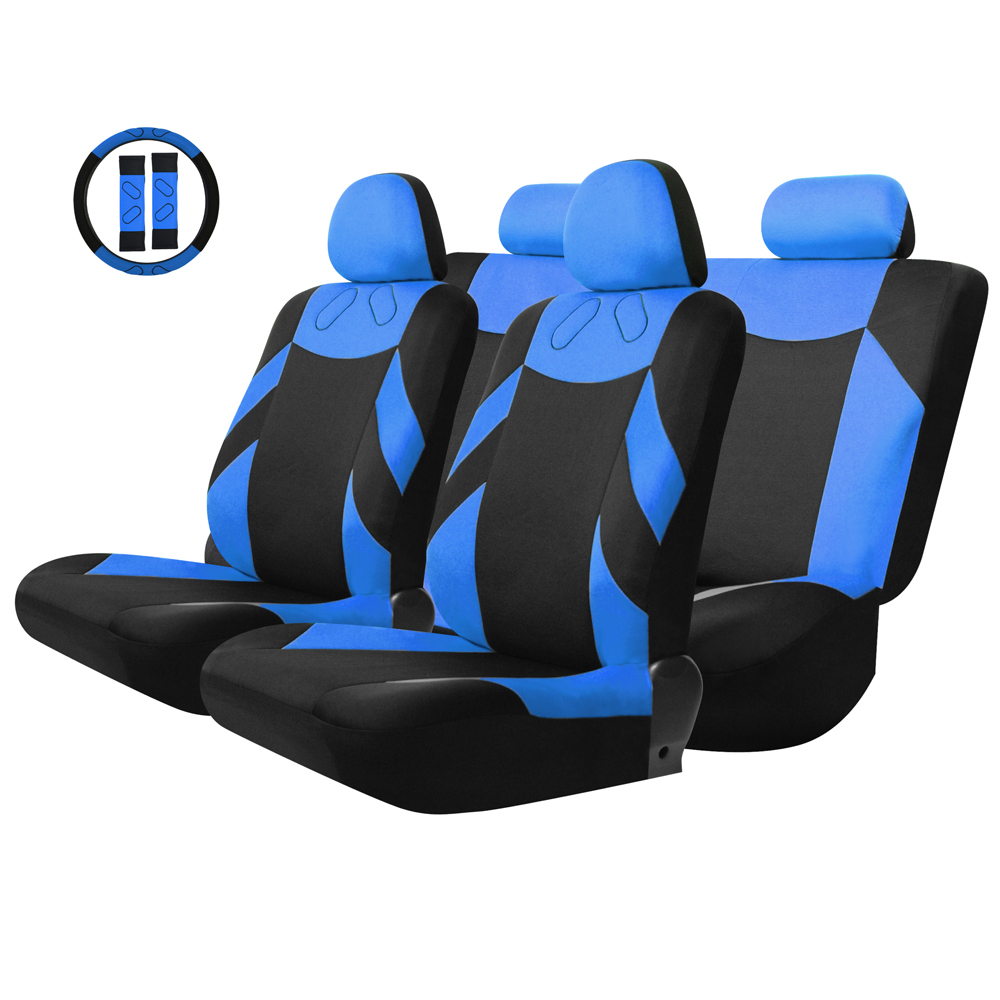 Tirol Universal 13PCS Car Seat Cover Front Seat Bench Seat Covers Wheel Cover Set Red/Blue/Gray/Beige