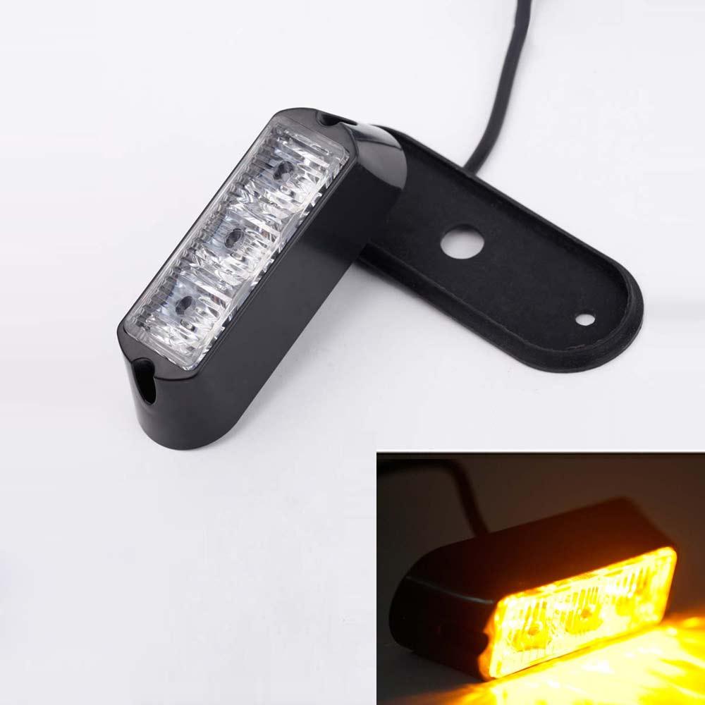 3W 3 LED Car Truck Flashing Strobe Emergency Warning Light Lamp Waterproof 12V Amber