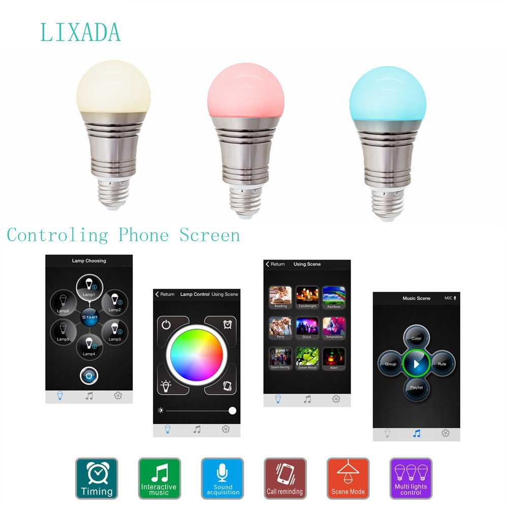 LIXADA Superlight Bluetooth LED RGB Smart Light E27 Bulb Smartphone Controlled Dimmable Color Changing Lamp for iPhone & iPad & Android-60W Equivalen