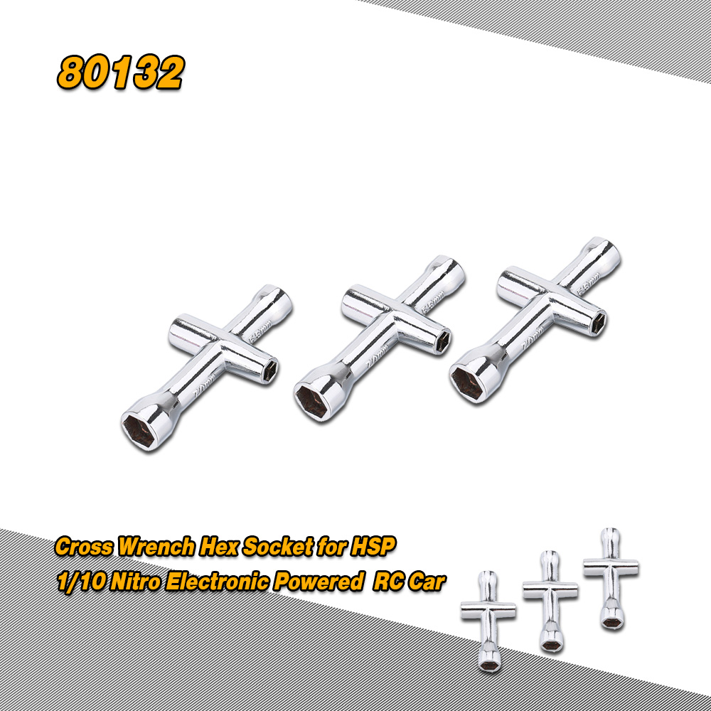 3Pcs 80132 4mm 5mm 5.5mm 7mm Small Cross Wrench Hex Socket Repairing Tools for 1/10 Nitro Electronic Powered HSP Off-road Truck Buggy On-road Car RM3807