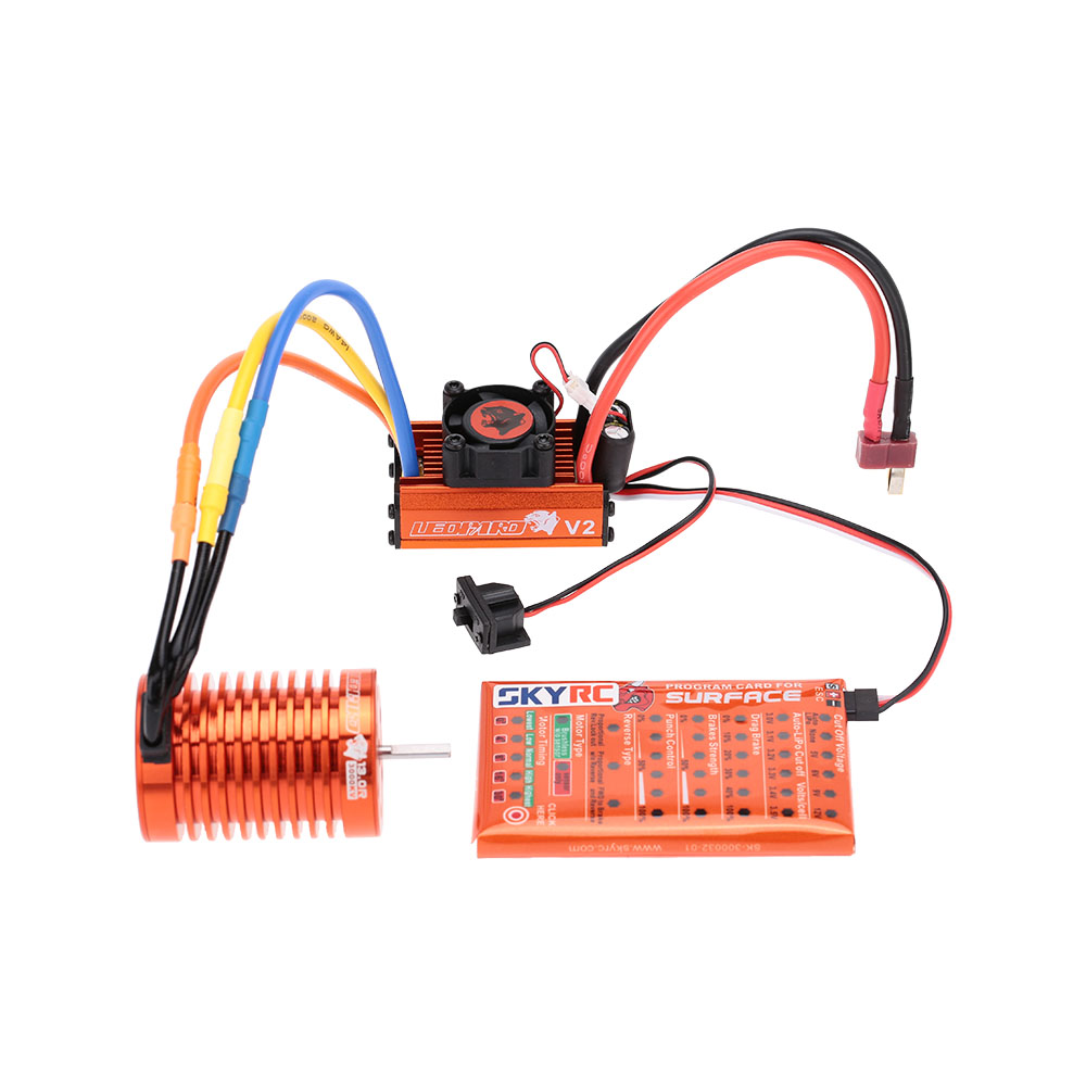 SKYRC 13T 3000KV Brushless Motor & 60A Brushless ESC with 5V/2A BEC Linear Mode & Program Card Combo Set for 1/10 RC Car