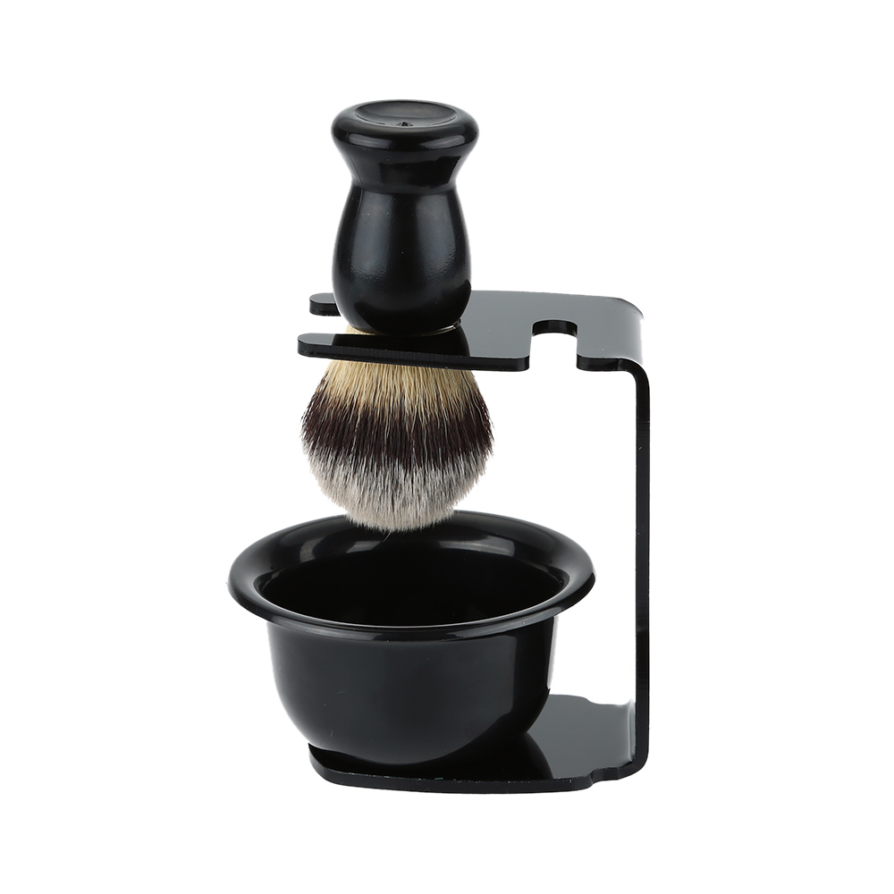 3 In 1 Shaving Brush Kit Shaving Frame Base + Shaving Soap Bowl + Shaving Bowl Modern Design Bristle Hair Shaving Brush Acrylic Materials Shaving W1712