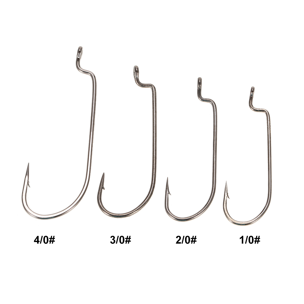 100pcs offset worm hooks high carbon steel barbed fishing for Barbed fishing hook