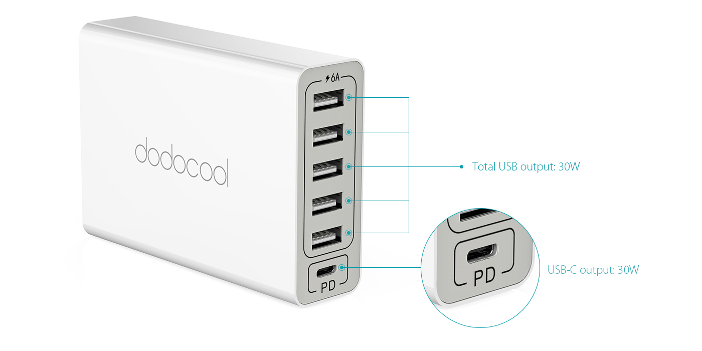 6 Port 60w Usb Power Adapter Dodocool Com