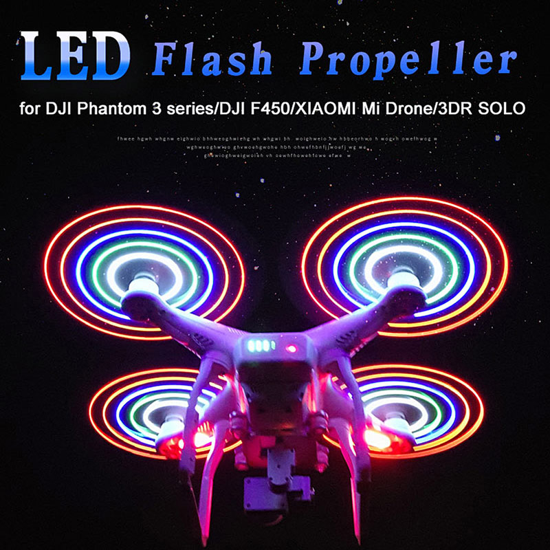 2 Pair LED Flash Low-Noise Quick Release Propeller Rechargeable CW/CCW
