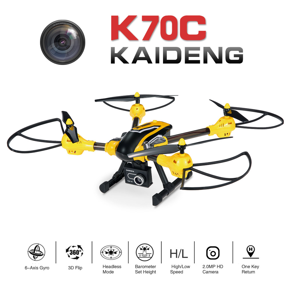 $5 Off Kai Deng K70C Sky Warrior 2.0MP HD Camera Drone 2.4G 4CH 6-Axis Selfie RTF Support GoPro Hero 4 SJCAM,free shipping $94.99