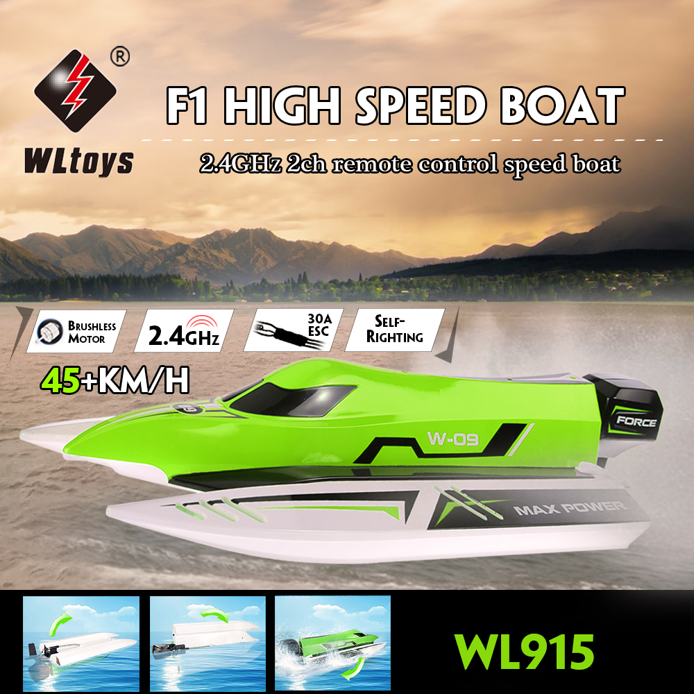 $10 Off WLtoys WL915 2.4Ghz 2CH Brushless 45KM/H High Speed RC Racing Boat,free shipping $69.99