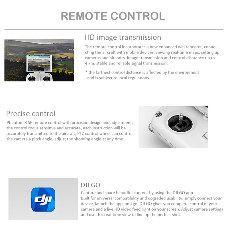 Dji Phantom 3 Se Wifi Fpv 4k Camera Drone Vision Positioning