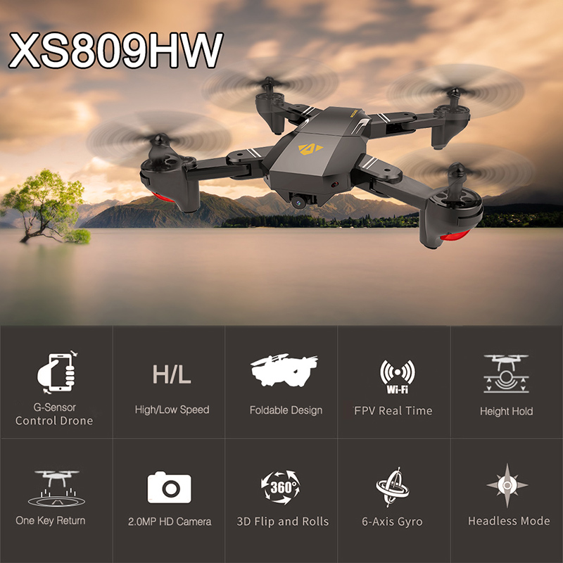 $10 Off VISUO XS809W Upgraded Version XS809HW 2.4G Foldable RC Quadcopter Wifi FPV Selfie Drone - RTF,free shipping $37.99