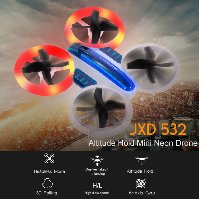 JXD 532 Altitude Hold Mini Neon Night Drone Colorful LED Light RC Quadcopter –