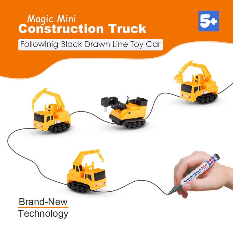 Gold Light Magic Mini Construction Truck Excavator Follow Black