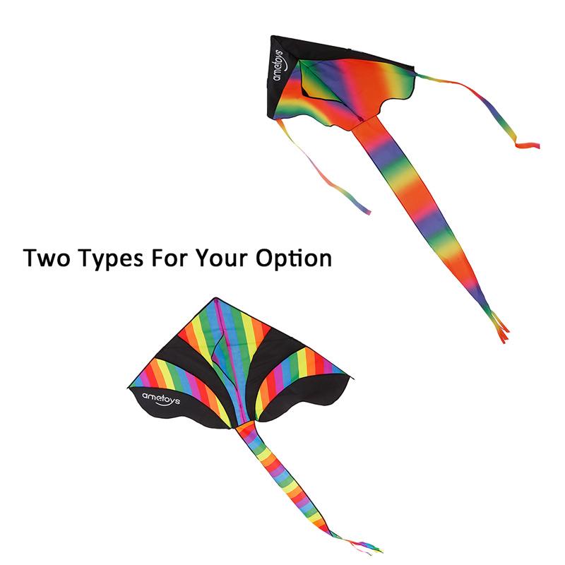 290cm*140cm Large Size Huge Rainbow Kite with 50m Line Delta Kite