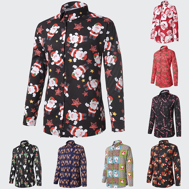 661dba0f5c016 Details about Men Christmas Print Santa Claus Button T Shirt Long Sleeve  Blouse Top Lot J3T1