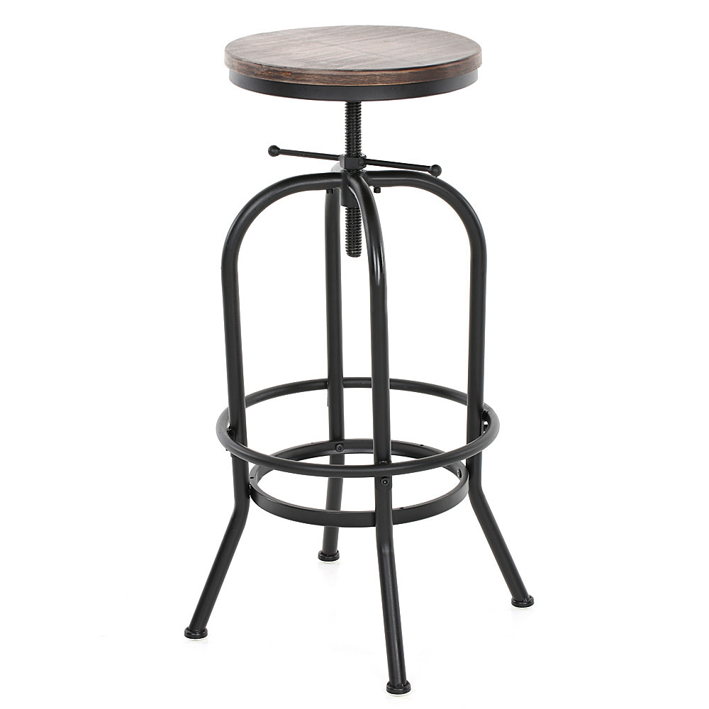 Industrial style height adjustable swivel bar stool for Industrial style kitchen chairs