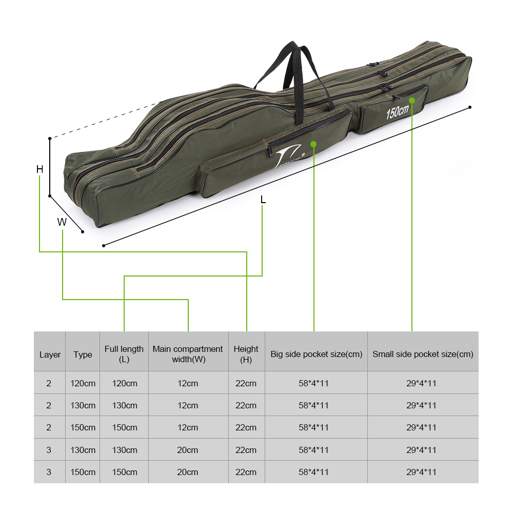 Folding Fishing Rod Bag Pole Carrier Rod Reel Bag Case 2/3Layer 120cm-150cm P2L2 Sporting Goods Tackle Boxes & Bags
