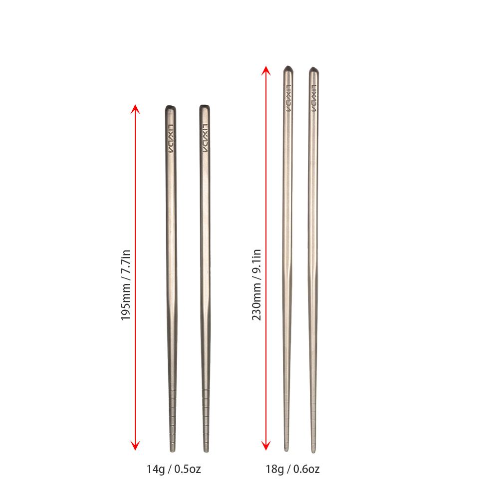 Lixada Titanium Chopsticks Set Ultralight Premium Reusable Camping Utensils N9E5