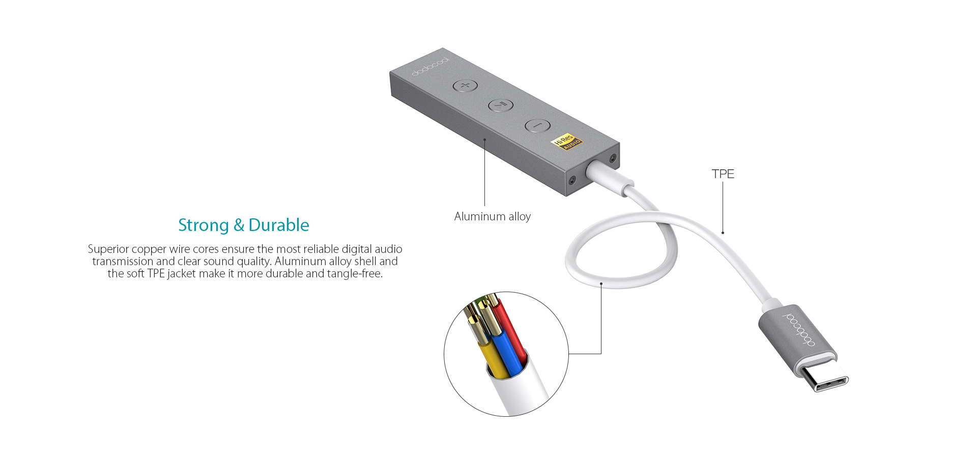 dodocool hi-res audio certified usb-c to 3 5mm audio jack adapter complies  with high-resolution audio standard  it offers a lossless conversion for