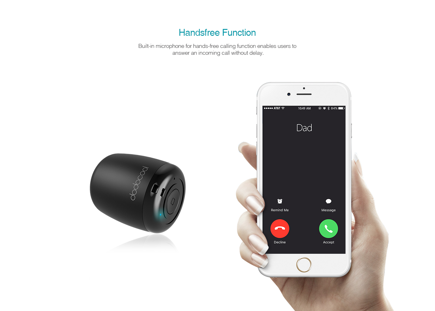 White Wireless Speakers dodocool Small Portable Mini Wireless Speaker with Built-in Mic and Selfie Remote Control Low Harmonic Distortion for iPhone iPad Android Smartphone and More