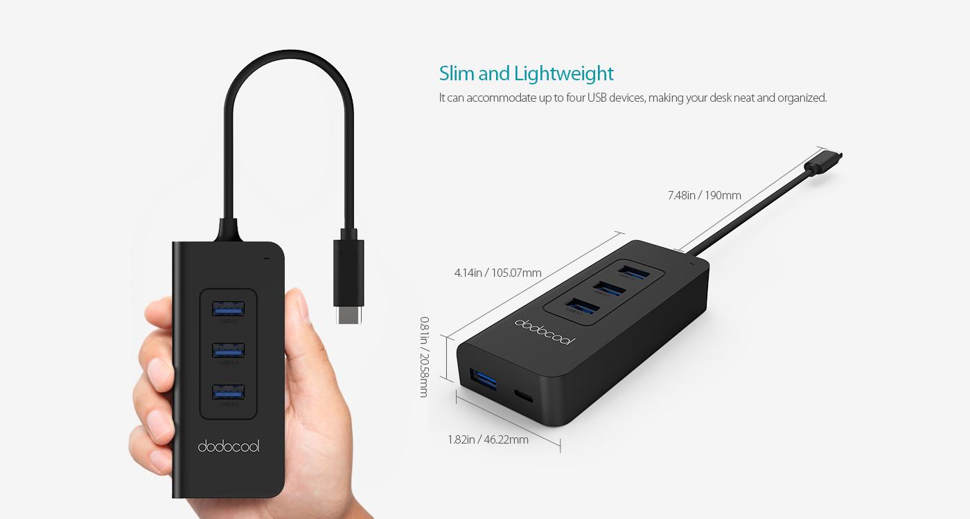 dodocool USB-C to SuperSpeed 4-Port USB 3.0 Hub with USB ...