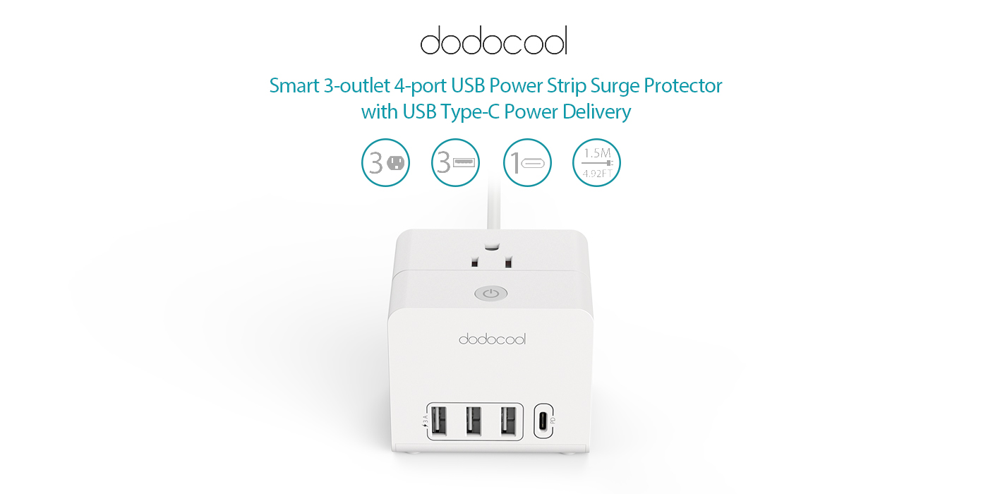 3 Outlet 4 Port Usb Power Strip With Delivery Xiaomi Mi Smart Plug Adapter 2a Dodocool Lets You Up To Three Appliances A Powered Devices And One C Device