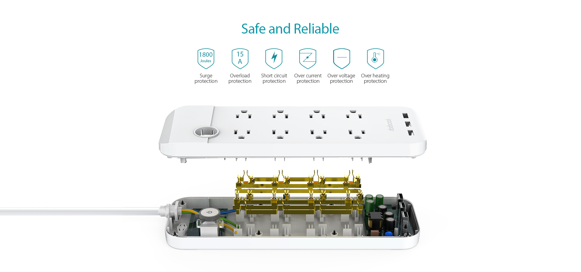 1875w Smart 8 Outlet With 155w 3 Port Usb Charger Circuit Diagram Of Over Voltage Protector Dodocool Surge Power Strip Turns One Prong Into Eight Protected Ac Outlets And Three