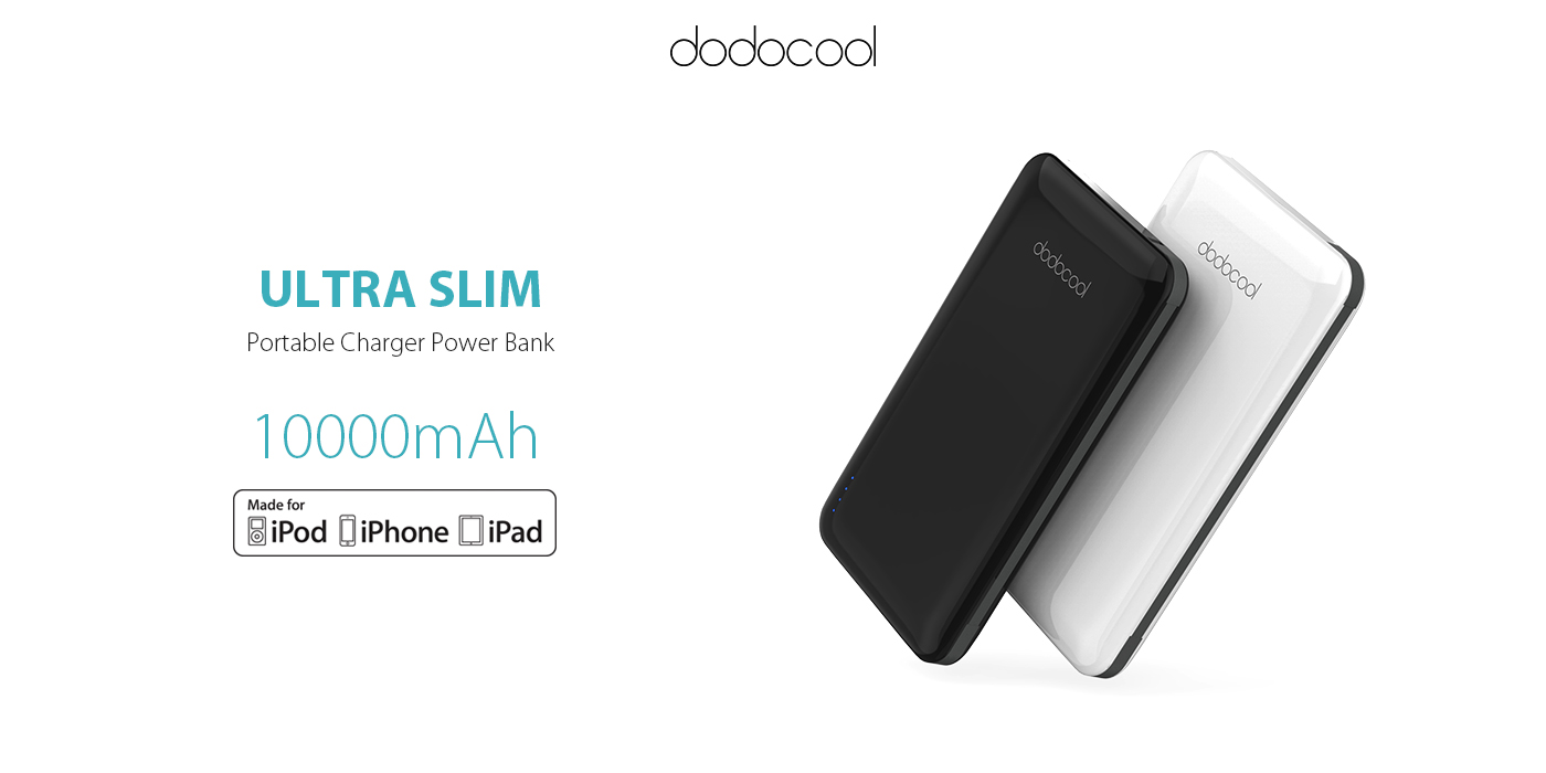 MFi Ultra Slim 10000 mAh 2-Port Power Bank-dodocool com
