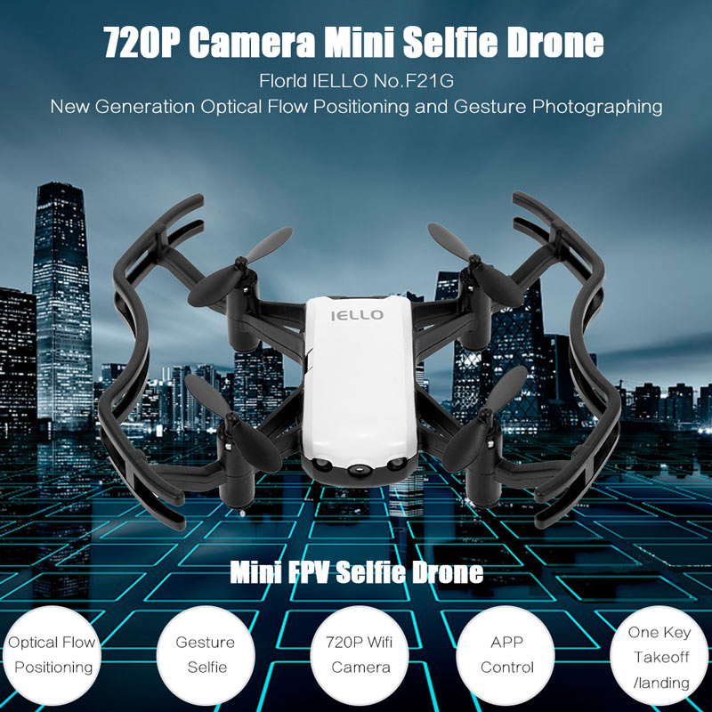 white Florld IELLO F21G 720P Wifi FPV Interactive Gesture Photo Altitude  Hold RC Quadcopter - RcMoment com