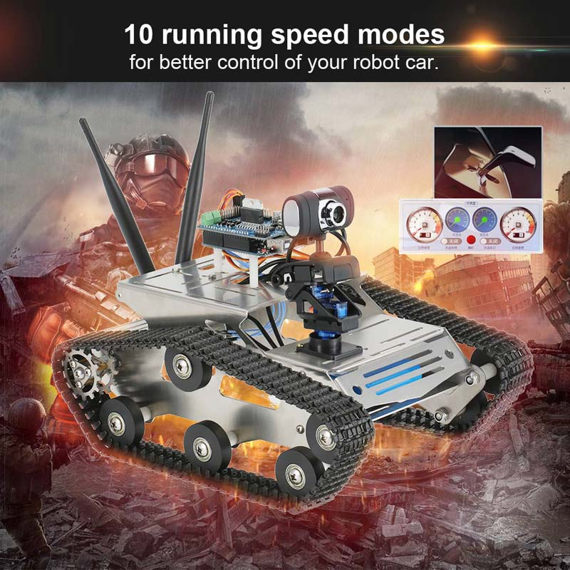 Get $24 Off For Smart Wifi DIY Crawler RC Robot Tank with 1.3MP HD Camera Support PC Mobile Phone Control Monitoring with code  Only $338.99 +free shipping
