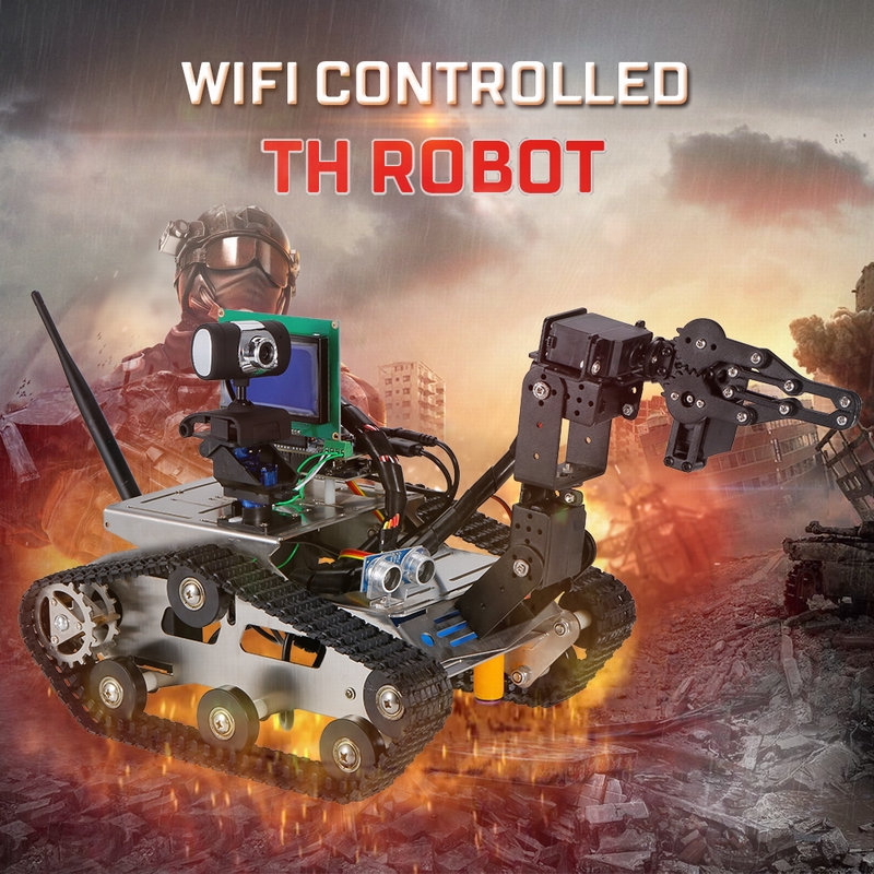 Get $20 Off For TH Robot Wifi Smart DIY Crawler RC Robot Tank with Manipulator 480P Camera Obstacle Avoidance PC Phone Control Education Tool with code  Only $309.99 +free shipping