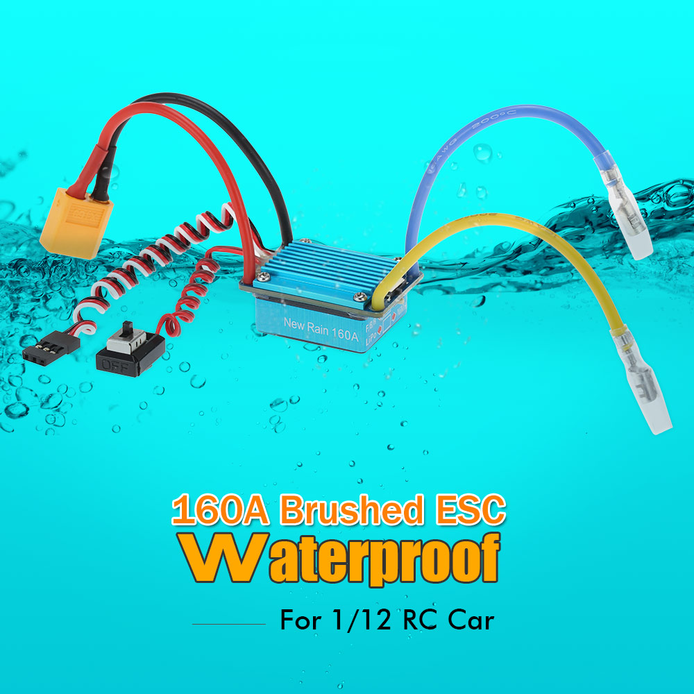 Waterproof 160a Brushed Esc Electronic Speed Controller With 5v 1a Diy Homemade For Rc Bec Xt60 Plug 1 12 Car