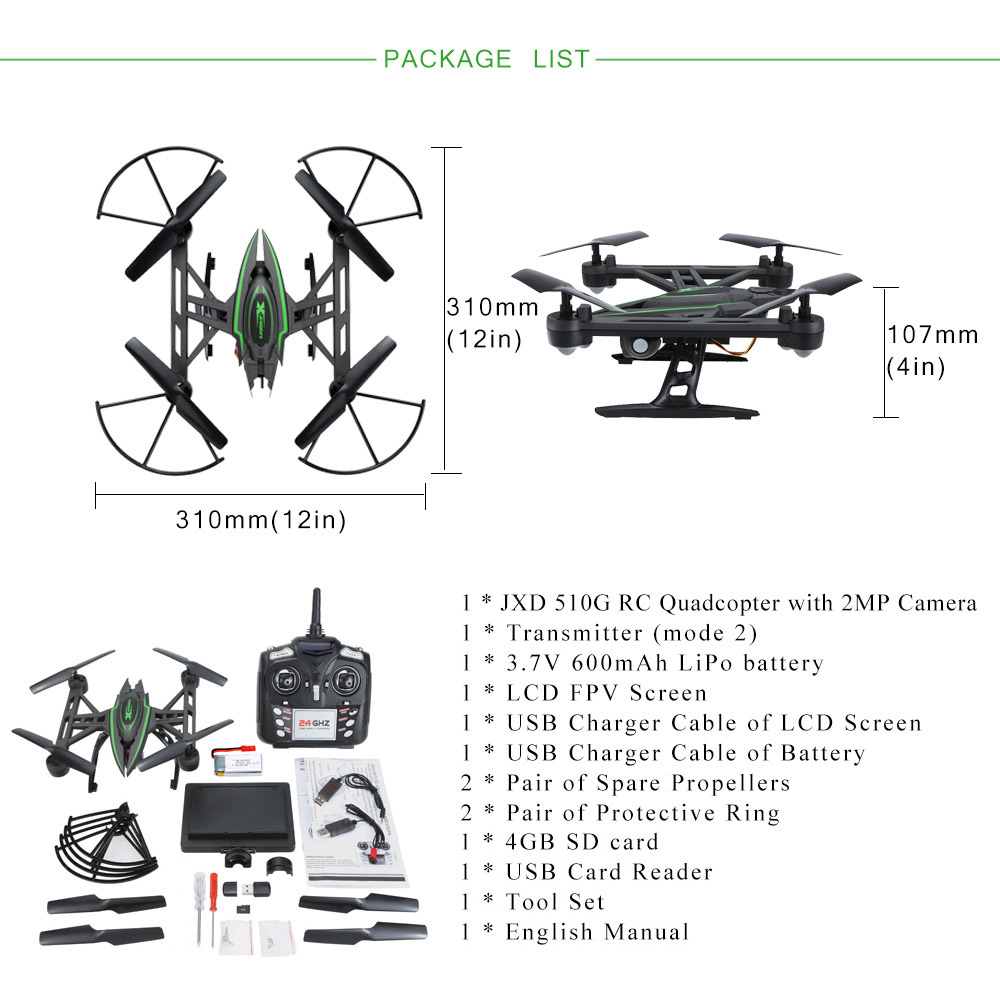 Original Jxd 510g 24g 4ch 6 Axis Gyro 58g Fpv 2mp Camera Rtf Rc Equipped With Precision Electronic Gyroscope To Stabilized Flying 3d Flip Experience Cool Play Colorful Led Light Suit For In The Dark At Night Headless Model Completely Solves Pilot Loss Of Orientation