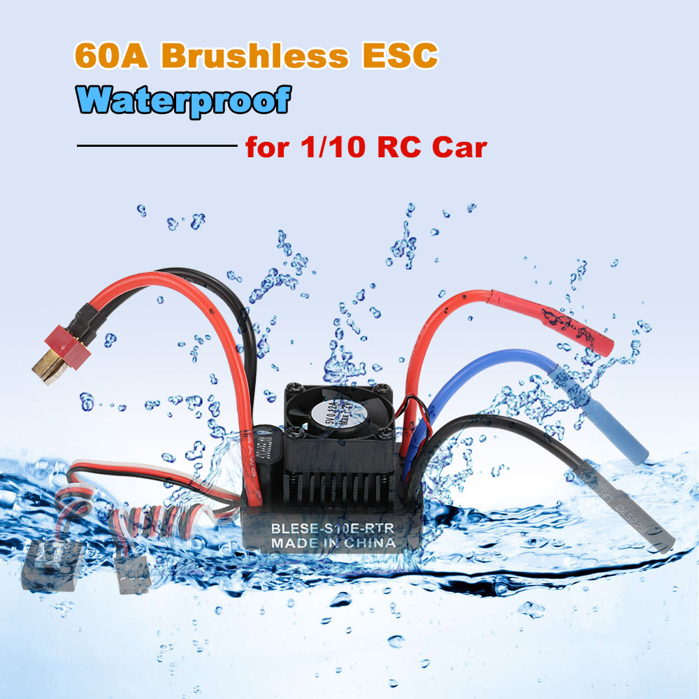 Waterproof 60A Brushless ESC Electronic Speed Controller with 6V/2A BEC for  1/10
