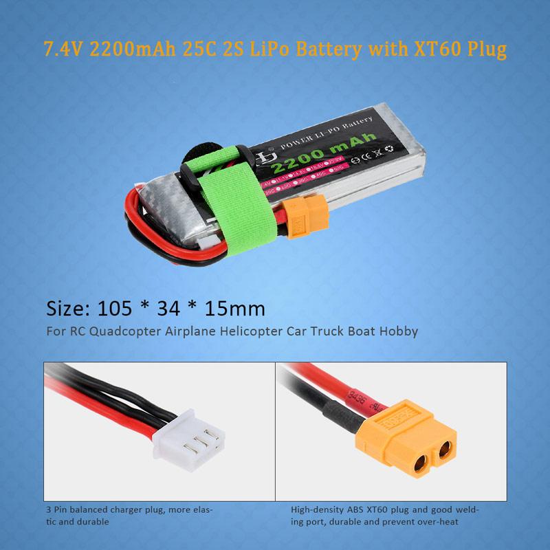 7.4V 2200mAh 25C 2S LiPo Battery with XT60 Plug for RC Quadcopter ...