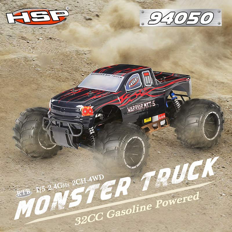 Get 100$ off  HSP 94050 Off-Road 1/5 2.4Ghz 2CH 4WD RTR 32CC Gasoline Powered Monster Truck Car