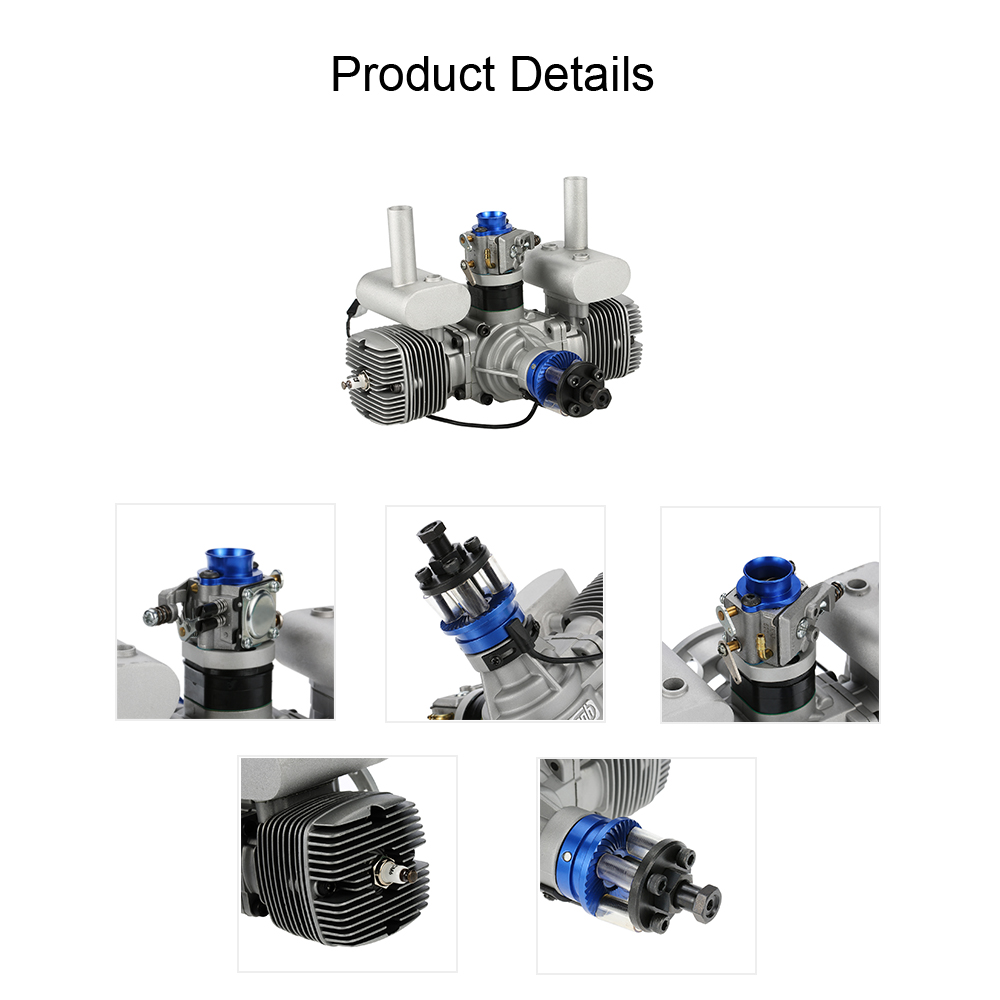Original NGH GTT70 Horizontally-opposed Twin-cylinder 69 9CC 2-Stroke Air  Cooled Gasoline Engine for 3D Pilot Extra 260-330 Class Edeg 540 Fixed Wing