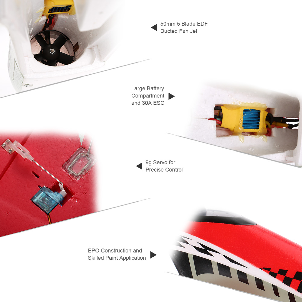 A-006 Mini X 50mm 5 Blade EDF Ducted Fan Jet 668mm Wingspan RC Airplane  Drone PNP Edition with Motor ESC Servo - Rcmoment com