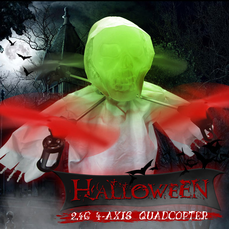 Get 20$ off 1031 Halloween Skull RC Drone 2.4G 4CH 6-axis Gyro Headless Mode Quadcopter