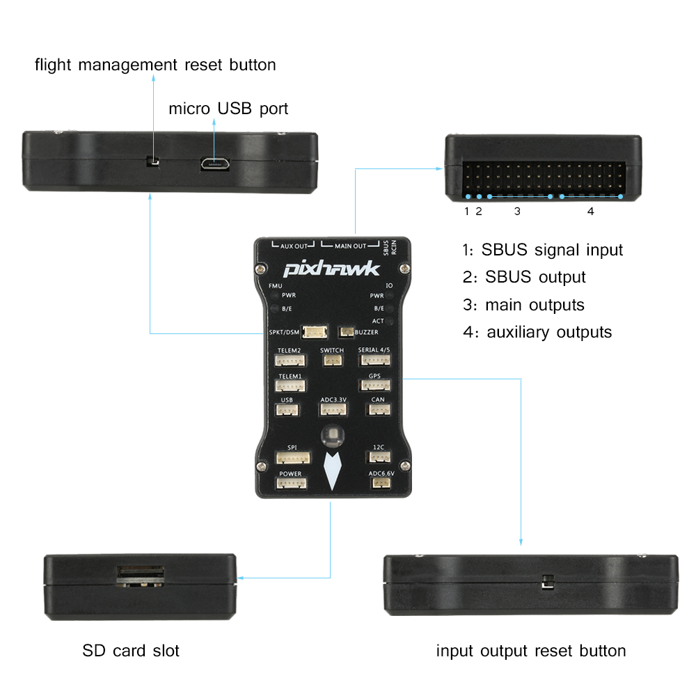 Pixhawk PX4 2.4.6 Flight Controller NEO-M8N GPS Mini OSD 915Mhz Data ...